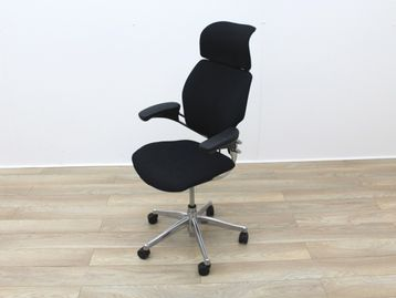 Used Humanscale Freedom Operator Chairs with Headrest and Polished Aluminium Base