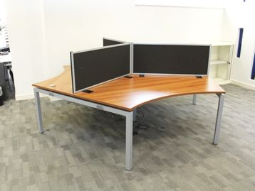 Used 120 Degree Walnut Desks with screens