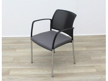 Boss Design 'Mars' Stacking Meeting Chairs with Black Backs and Grey Fabric Seats