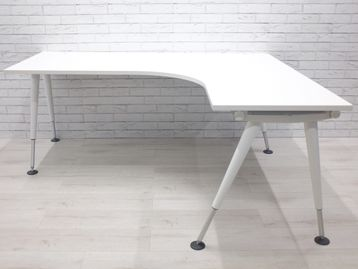 Herman Miller 'Abak' corner desks with white height adjustable legs - alternative legs available