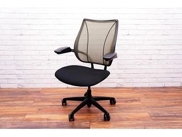 Humanscale Liberty Office Operator Chairs with Green Mesh Back and Black Fabric Seat