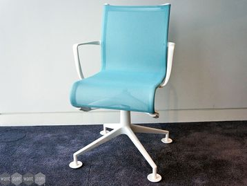 Used Alias Mesh Meeting Chairs in Light Blue and White