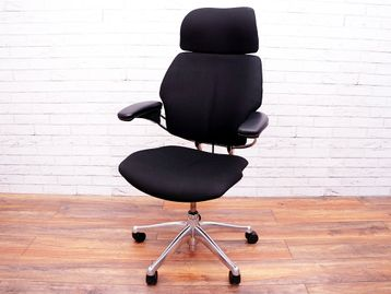 Re-upholstered Used Humanscale Freedom Operator Chairs with Headrest and Polished Aluminium Base