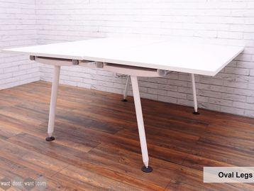 Refurbished Herman Miller 'Abak' Bench Desks with White Oval Legs