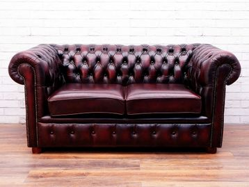 Used Chesterfield Style 3 Seater Sofa in Oxblood