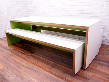 Used Bench Seating Set in White & Lime Green