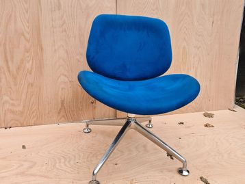 Used Orangebox 'Track' Swivel Chairs in Blue Fabric with Chrome Base