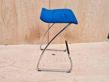 Used Orangebox 'Spring' Stool With Blue Fabric Seat