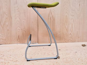 Used Orangebox 'Spring' Stool With Green Fabric Seat