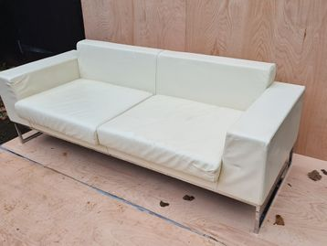 Used Boss Design 'Layla' 3 Seater Cream Leather Sofas