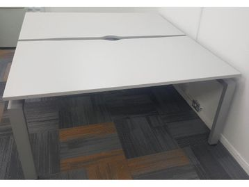 Fabulous used 1600mm soft grey Senator bench desks