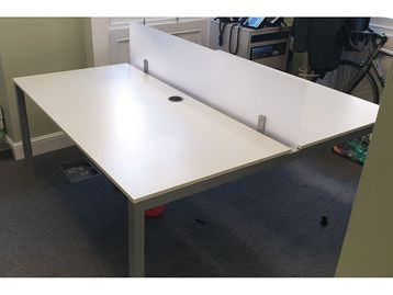 Used 1600mm Frezza White Bench Desks