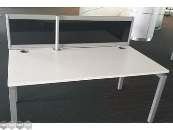Used 1600mm White Desks with Dividing Screen