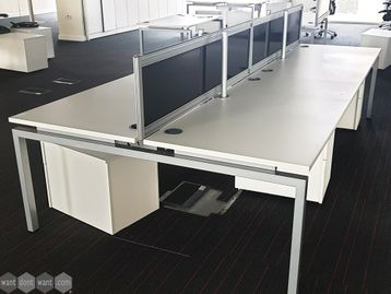 Used 1600mm White Bench Desks with Dividing Screen
