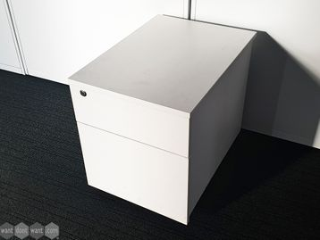 Used White 2 Drawer Under Desk Pedestal