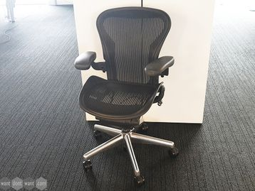Used Herman Miller Aeron Chairs Size A with Polished Aluminium Base - No Lumbar Support