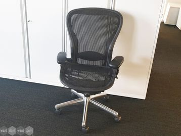 Used Herman Miller Aeron Chairs Size C with Polished Aluminium Base