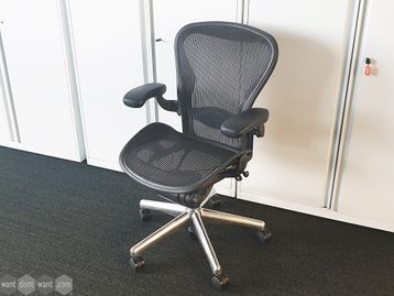 Used Herman Miller Aeron Chairs Size B with Polished Aluminium Base