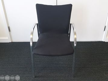 Used Meeting Chairs in Black fabric with Chrome Frame