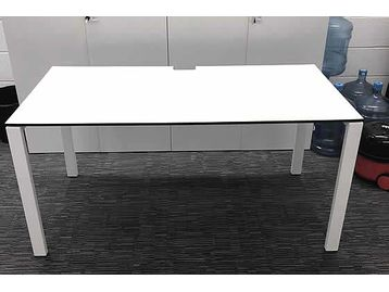 Used 1500mm Dynamobel White Office Desks with White Legs and Black Edging