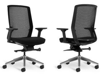 Brand New Bestuhl J1 Task Chair with Black Fabric Seat & Polished Aluminium Base