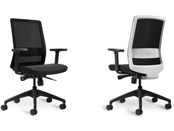 Brand New Bestuhl S30 Task Chair with Black Fabric Seat & Black Base - White Back