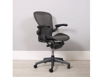 Used Hermsan Miller Aeron Chairs Size B in Graphite with Tuxedo Mesh