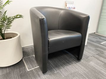 Used black leather tub style chairs in good condition.