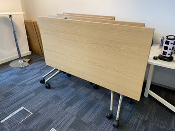 Used high quality folding tables with oak tops and brushed steel legs. 1600mm w x 800mm d