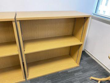 Used Sven Christiansen oak storage/bookcase units with adjustable shelf