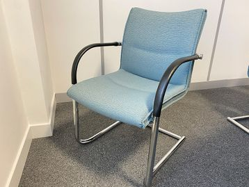 Used Kusch 'Visa' chairs upholstered in turquoise self-pattern fabric