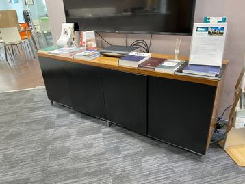 Used walnut credenza with black doors