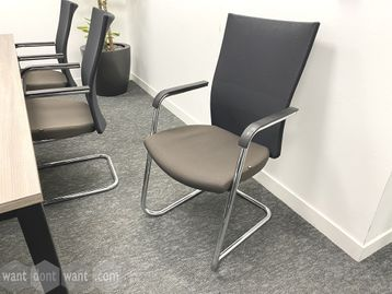 Used high-back 'Task' meeting chairs with fawn colour seat and black mesh back