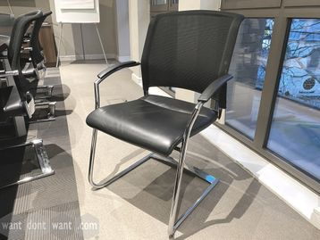 Used Interstuhl Xantos X570 Chair with mesh back and high quality black hide seat