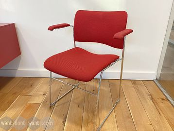 Used Howe 40/4 Red Fabric Stacking Chairs with Arms