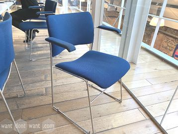 Used Howe 40/4 Blue Fabric Stacking Chairs with Arms
