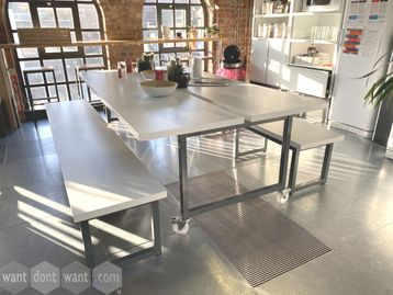 Used 2460mm White Table on Casters including 2 x Benches