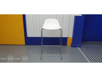Used Boss Design Bar Stools. White seat shell with chrome frame and foot bar.