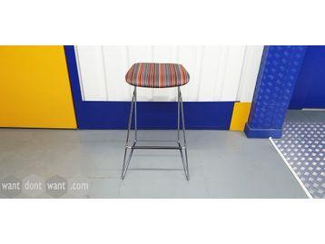 Used Orangebox 'Tide' stools orange, red & grey strip fabric