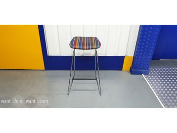 Orangebox 'Tide' stools in blue, mauve, orange & grey stripe fabric