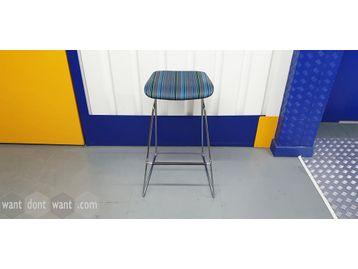 Orangebox 'Tide' stools in blue, green & grey stripe fabric with chrome base