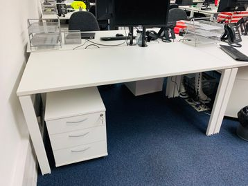 White free-stand rectangular desks