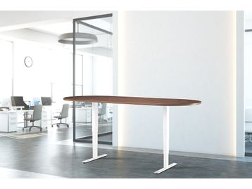 Brand new height-adjustable meeting table with anti-collision dual motor.