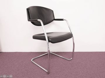 Used Giroflex Leather Boardroom Meeting Chair with Chrome Frame
