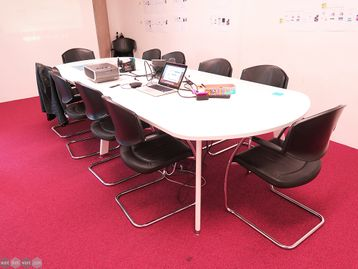 Used 3400mm White Boardroom Table with White Frame