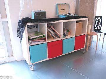 Used IKEA Kallax 8 Compartment Storage Unit on Wheels