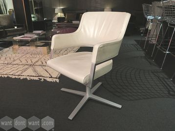 Used high quality Brunner cream leather swivel meeting chairs