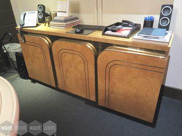 Beautiful retro design credenza storage unit burr walnut veneer with gold inlay and edge banding.