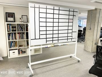 Used mobile double-sided swivel dry-wipe boards - 2020mm wide