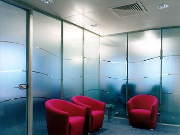 Office Furniture - Glazed Partitioning with Frosted Manifestation